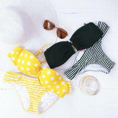 She wore an itsy-bitsy teeny-weeny yellow polka-dot bikini.and a black white striped one! Cute Swimsuits, Cute Bikinis, Mermaid Outfit, Bikini Ready, Polka Dot Bikini, Cute Bathing Suits, Summer Suits, Swimsuit Cover Ups, Bra Lingerie