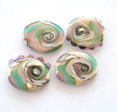 0529-BINDU- 4 pressed Lampwork beads - pendants in ivory , violet and green-blue etsy BinduGlass.