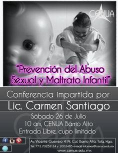 """Conferencia para Psicología """"Prevención del abuso sexual y maltrato infantil"""" sábado 26 de Julio 10 am CENUA Barrio Alto"""