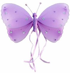 "10"" Medium Purple Ribbons Butterfly Decorations - butterflies hanging nylon nursery bedroom girls room ceiling wall decor, wedding birthday party baby bridal shower $5.95"