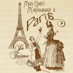 Marry Me in Paris French Text Eiffell Word by graphiquesepia,