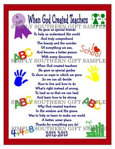 """School Teacher Appreciation Wall Keepsake Gift Idea For A Special Teacher INSTANT DIGITAL DOWNLOAD. Unlimited Prints There are times when the two most important words that can be said are Thank and You.Take this opportunity to acknowledge that special teacher for making a difference in your child's life with this adorable unique one-of- a- kind appreciation gift. """"When God Created Teachers"""""""