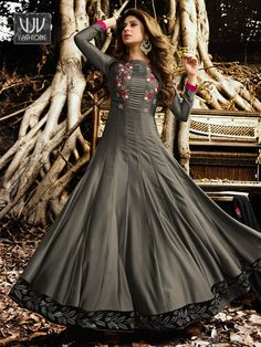 Check out Jennifer Winget Grey Color Silk Satin Designer Suit VJV Fashions latest collection of Beautiful salwar suits Online Shop bridal salwar suits, all Indian Gowns Dresses, Pakistani Dresses, Girls Dresses, Long Dresses, Indian Outfits, Maxi Dresses, Stylish Dresses, Fashion Dresses, Skirt Fashion