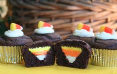 Chocolate Cupcakes with Candy Corn Filling | 20 Edible Delights For Candy Corn Lovers