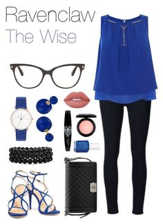 """""""Ravenclaw - The Wise (Women's)"""" by catyisamazing11 on Polyvore featuring Frame Denim, Coast, Schutz, Tom Ford, Bling Jewelry, Chanel, Lime Crime, MAC Cosmetics and Essie"""