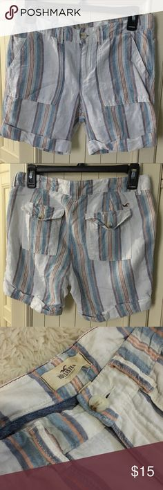 Hollister shorts These shorts are perfect for summer days! They are a lightweight material (55% linen, 45% cotton). They are off-white with orange, blue, navy and light gray stripes. They are in good condition with no holes or tears. Hollister Shorts