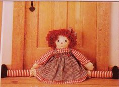 Raggedy Ann Andy Draft Stopper Doll Sewing by SewStitchQuilt, $7.00 Free Shipping