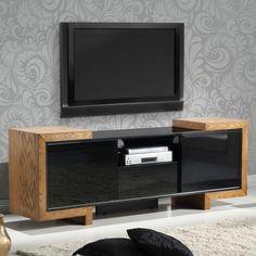 "Furnitech 75"" TV Stand Contemporary Media Cabinet in High Gloss Black Lacquer & Oak #dynamichome #tvstand #mediaunit #cabinet #modern #contemporary #entertainment #livingroom #mediaroom #homedecor #interiordesign"
