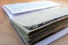 """""""Checkbook Cash!""""  Buy a checkbook cover, ask the bank for a free one, or make one.  You glue the edge of the bills (get crisp ones from the bank) together with Padding Compound which is a book binding glue.  So, the gift recipient can pull one off at a time.  The glue is rubbery and the bills come off like they are a pad of paper.  You can call it """"Emergency Snack Money"""", """"Emergency Beer Night Fund"""", etc. etc. Use your imagination! I love this! #limepop"""