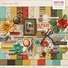 Not a Zoo, inspired by Disney's Animal Kingdom, features rustic earth tones and unique safari themed elements, making it great to use on zoo, museum, and theme park layouts. <br /> <br />Includes 12 patterned papers, 9 lightly textured solids, and 46 unique elements (plus color/style variations).