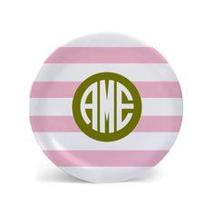 Preppy Stripes Personalized Melamine Plate by PopsyPix on Etsy
