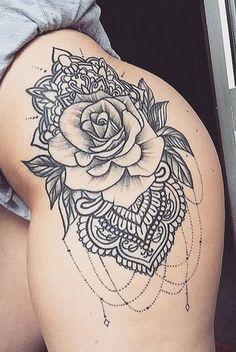 Tattoos For Women Cool Unique Mandala Rose Black Henna Thigh Tattoo Ideas www.My Tattoo Inspirations The post Tattoos For Women Cool Unique Mandala Rose Black Henna Thigh Tattoo Ideas www.My Tattoo Inspirations appeared first on Best Tattoos. Henna Thigh Tattoo, Tigh Tattoo, Foot Tattoos, Body Art Tattoos, Sleeve Tattoos, Leg Henna, Trendy Tattoos, Sexy Tattoos, Unique Tattoos