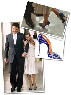 Carrie Bradshaw's wedding ~  Manolo Blahnik ~ Something Blue pumps ~ And in a label-less wedding suit