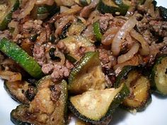 Ground Beef Skillet with Sauteed Zucchini and Caramelized Onions - Low Cab - serves one but can double or triple the recipe.