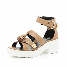 Tan tassel buckle cleated sole sandals £35.00