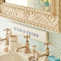 """Rise and Shine"" Love this for the bathroom."