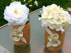 Mason jar decor set of two. mason jar vase. by YourHandmadeWreath