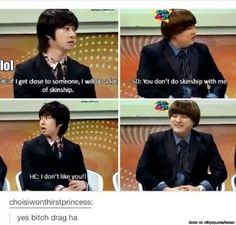 I would've said the exact same thing. I don't hug anyone unless they're really REALLY close to me. lol heechul | allkpop Meme Center