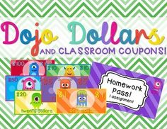 "Get Started with Class Dojo today!Class Dojo is an awesome classroom behavior management tool. This resource is a perfect accompaniment to keep students interested and motivated!  It is also an opportunity to have your students working on their money skills consistently.With this addition you can award students with the themed money which they can use to purchase coupons, ""purchase"" a pencil or candy, or visit a treasure box."