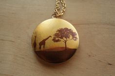African Sunset Safari Giraffe Locket Necklace, Yellow and Brown Image Pendant, Long Gold Chain, Large Tree Picture Jewelry, Jewellery. $34.00, via Etsy.
