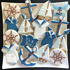 Popular Baby shower Decorations, Baby Shower Invitations, Baby Shower Favors, Baby shower Games, Gender Reveal Party Decorations and Supplies Nautical Baby Shower Decorations, Nautical Party, Boy Baby Shower Themes, Baby Boy Shower, Nautical Baby Shower Cakes, Baby Cookies, Baby Shower Cookies, Baby Shower Favors, Baby Shower Invitations