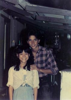 "Traci Toguchi and Ralph Macchio on the set of 'Karate Kid Part II"". Oh my goodness this is too cute"