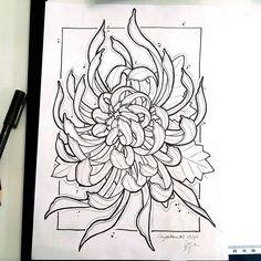 chrysanthemum-tattoo-tattooflowerchrysanthemumtattoolineworkchrysanthemumdesignwipdrawing-46176.jpg (640×640)