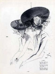 Erik (Millinery) 1940 Hat in black with Ribbon, René Gruau