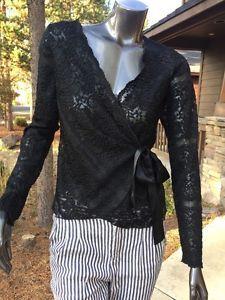 Banana Republic Black Lace Wrap Ribbon Long Sleeve Dress Top Med Mint    | eBay