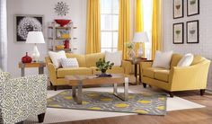 La-Z-Boy — Room Inspirations — Demi Room (I like the palette of yellow, gray and white — especially the patterned chair on the left: Allegra Stationary Occasional Chair [cover color is Graystone (L110154)])