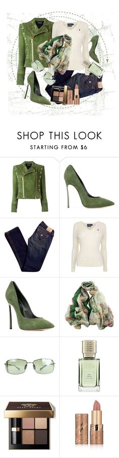 """Green Autumn"" by stars-5 ❤ liked on Polyvore featuring Balmain, Casadei, True Religion, Polo Ralph Lauren, Maui Jim, Ex Nihilo, Bobbi Brown Cosmetics and tarte"