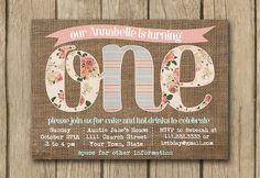 1st birthday invite; first birthday invite; baby girl invite; Shabby chic invite; Burlap invite by DulceGracePrintables on Etsy