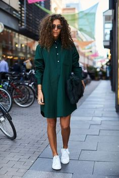 Best of Stockholm FW Street Style // casual outfit with green shirt dress, white sneakers Mode Outfits, Casual Outfits, Fashion Outfits, Fashion Trends, Dress Fashion, Fashion Ideas, Sneakers Fashion, Dress Outfits, Fashion Killa