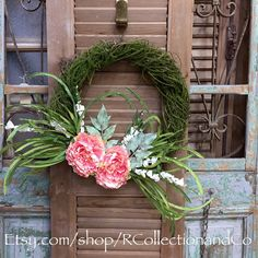Peachy Pink Peony Faux Moss Vine Wreath, Door Wreath, Wreath, Spring Wreath, Door Decor, Spring Decor, Outdoor Wreath by RcollectionandCo on Etsy https://www.etsy.com/listing/274813448/peachy-pink-peony-faux-moss-vine-wreath