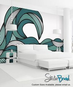 [ Ocean Wave Wall Murals Mural Decal Sticker Bristle Online Buy Wholesale From ] - Best Free Home Design Idea & Inspiration Mural Painting, Mural Art, Wall Paintings, Interior Walls, Interior Design, Wall Design, House Design, Wall Mural Decals, Wall Art