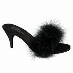 343655a97e70e  44 Marilyn Monroe Black Classic Marabou Slipper Shoes! Pin Up Shoes