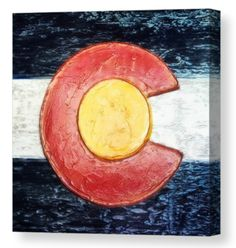 "Colorado Flag canvas print, taken from an original plaster wall art piece, by Russell Latino. Your canvas print will be delivered to you ""ready to hang"" with pre-attached hanging wire, mounting hooks, and nails. You choose the size, finish, and wrap. Ships within 2-3 business day."