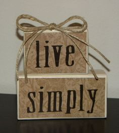 Live Simply Wooden Block Decor by coast2coastcrafts on Etsy, $20.00