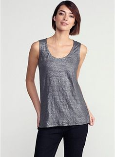 U-Neck Wedge Shell in Linen Jersey Shimmer