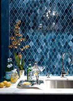 Arabesque blue stained glass tile backsplash