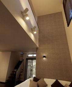 Light positioning, paint color and room brightness. Garage, Lighting Solutions, Accent Decor, House Plans, Stairs, Architecture, Interior, Room, Design
