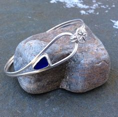 Sea glass jewelry Bezel set cobalt blue sea by FatCatsOnTheBeach