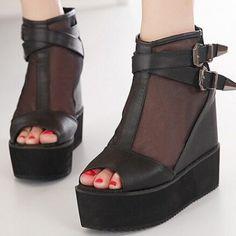 Sexy Platform Pu Peep Toe Incredible Wedges Shoes