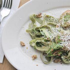 Parade.com: Spinach Fettuccine with Basil Pesto Shrimp