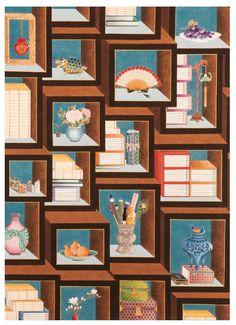 대한민국민화공모대전 - 김수진 - 책가도(믹스매치) Korean Art, Asian Art, Geisha Art, Ap Studio Art, Object Drawing, Pattern Illustration, Graphic Design Inspiration, Art Studios, Traditional Art