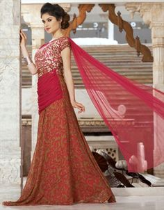 cf827bfaf4 Faux Georgette Gown in Pink and Majenta with Printed work