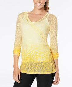 Take a look at this Popcorn Dip-Dye Blooming Lotus Burnout Top by lucy on #zulily today!