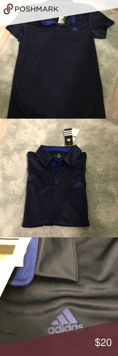 Men's Adiddas Climate Polo Shirt Navy Size Medium Brand new! Would fit a small or medium. Black trim. UPF 15. Stay dry, stay comfortable. Keeps your body dry by drawing sweat away from the skin. Smoke and pet free home. adidas Shirts Polos