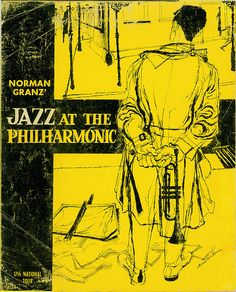 Norman Granz', Jazz at the Philharmonic, First British Tour, Concert Program (1958) Design David Stone Martin.