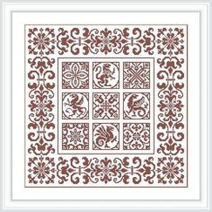 Small dragons and ornament. Design for cross-stitch or fillet